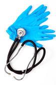 Medizinische handschuhe und stethoskop — Stockfoto