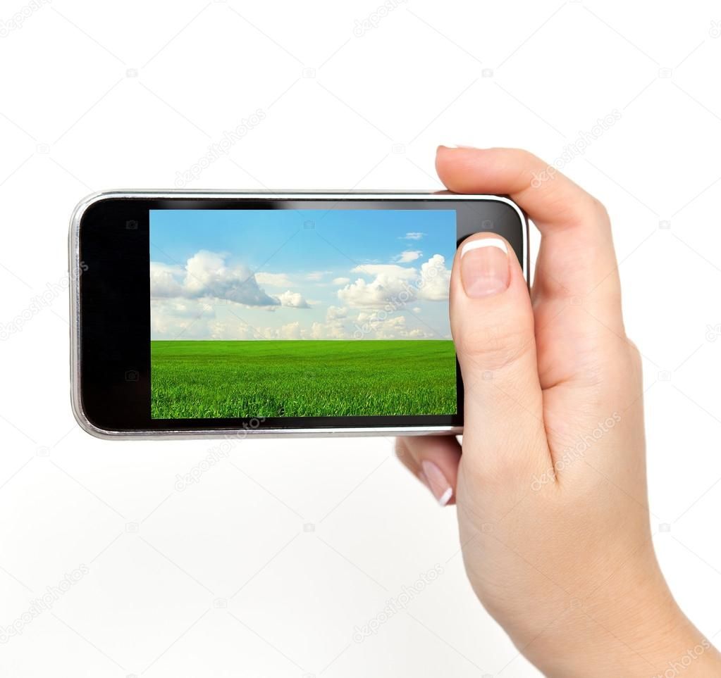 Woman Hand Holding Phone Isolated Woman Hand Holding