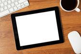 En la mesa de un empresario de la tableta — Foto de Stock
