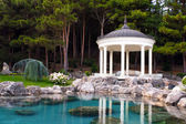 Gazebo by the pond — Stock Photo