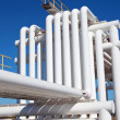 Industrial pipe with gas and oil and water - Stock Photo