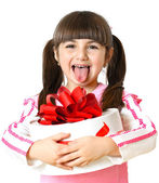 Little girl with a gift on a white background — Stock Photo