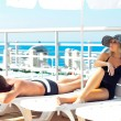 Постер, плакат: Beauty men and women on a yacht