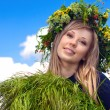 Portrait of the beautiful girl in a wreath which reaps a crop in — Stock Photo #22364623