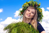 Portrait of the beautiful girl in a wreath which reaps a crop in — Stock Photo