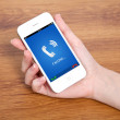 Постер, плакат: Woman hand holding a touch phone with blue screen and the phone