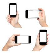 Isolerade kvinnliga händer hålla telefonen på olika sätt — Stockfoto