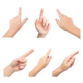 Kobieta na białym tle ręce dotknąć do czegoś — Zdjęcie stockowe