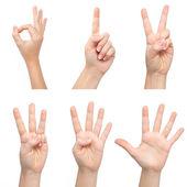 Kobieta na białym tle ręce pokaż numer — Zdjęcie stockowe
