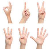 Manos de mujer aislados muestran el número — Foto de Stock