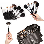 Women hands holding make-up brushes — Stock Photo