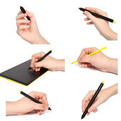 Isolated hands with pencil draws something — Stock Photo