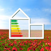 House with the sign of energy saving on a background field with — Stock Photo