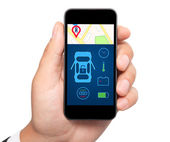 Isolated man hand holding the phone with car alarm interface on  — Stockfoto