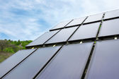 Environmental panel installed in the field and working on solar  — Stock Photo