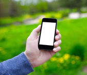 Männliche Hand, die ein Handy mit isolierten Bildschirm — Stockfoto