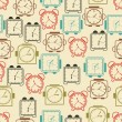 Clocks seamless vector pattern. — Vettoriale Stock