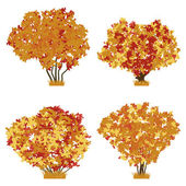 Autumn bushes set. Raster version of vector illustration. — Stock Vector