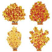 Autumn bushes set. Raster version of vector illustration. — Stock Vector