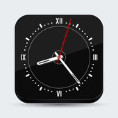 Black clock vector icon — Vector de stock