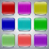 Botones de cristal conjunto de vectores — Vector de stock
