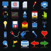 Conjunto de vetores de ícones coloridos web — Vetor de Stock
