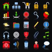Iconos web colorido conjunto de vectores — Vector de stock