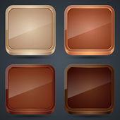 Wooden icons vector set — Stock Vector