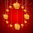 Christmas and New Year background with balls — Векторная иллюстрация