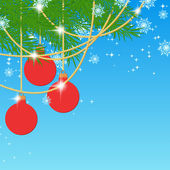 Christmas background with tree and red balls. — Vector de stock