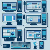 Vector set of personal computers — Stock Vector