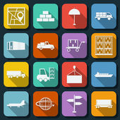 Logistics flat web icons — Stock Vector