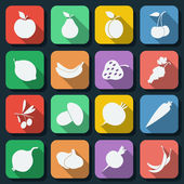 Fruits flat web icons — Stock Vector
