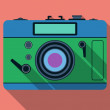 Stock Vector: Retro photo camerflat vector illustration