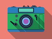 Retro foto kamera platt vektor illustration — Stockvektor