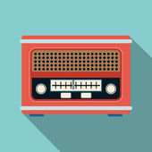 Retro radio flat vector illustration — Stock Vector