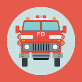 Fire truck flat vector illustration — Stock Vector