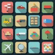 Stock Vector: Transportation flat vector icons