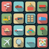 Transportation flat vector icons — Stock Vector