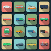 Transport flat vector icons — Stock Vector