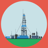 Oil rig flat vector illustration — Stock Vector