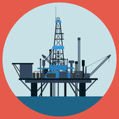 Oil platform flat vector illustration — Stock Vector