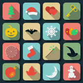 Holidays flat vector icons set — Stock Vector