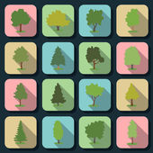 Trees flat vector icons — Stock Vector
