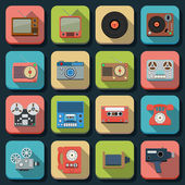 Retro electronic flat icons — Stock Vector