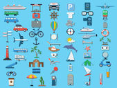 Flat travel icons vector set — Stock Vector