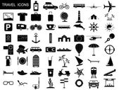 Black travel icons vector set — Stock Vector