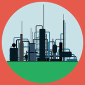 Oil refinery flat vector illustration — 图库矢量图片