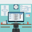 Programmer's workplace flat vector illustration — Stockvektor  #45242801