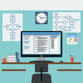Programmer's workplace flat vector illustration — Vettoriale Stock